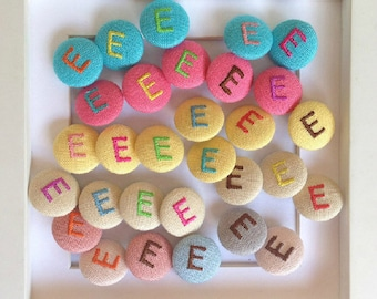 Customized Embroidered buttons English  letters buttons Fabric button --customized button--children button--sweater button--1.8cm
