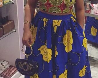 Ankara two piece crop top and maxi skirt