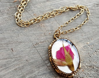 Red Rose Necklace - Real Flower Necklace - Pressed Rose on Birch Bark - Nature Jewelry