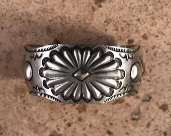 Navajo Hand Stamped Sterling Silver Cuff Bracelet Signed