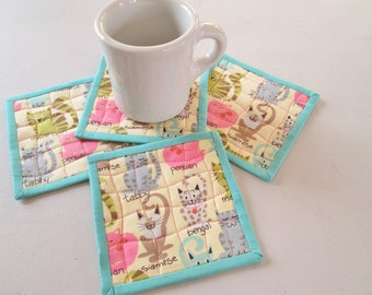 Quilted Whimsical Cats Fabric Coasters - Set of 4