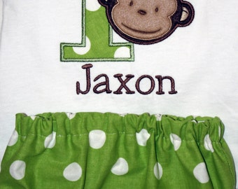 Boy's Mod Monkey Birthday Shirt and Diaper Cover