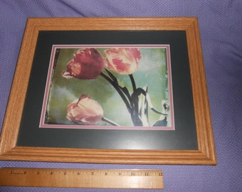 "Shades of Pink Tulips Print in 15"" Solid Wood Oak Frame"