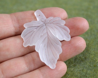 25pcs Lucite Acrylic Charms Leaf 45x37mm Clear Frosted Iced Beads Drops Leaves