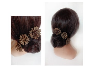 Quilted brown leather hair pin wedding, ethnic hair bun, ceremonial hair comb
