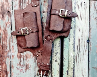 2 Pocket men's and women's leather belt bag in brown, belt pouch, hip bag, utility belt, bum bag
