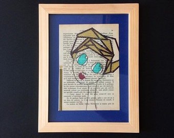 "Illustration - collage posca on book page - ""Joyful"" Big eyed girl"