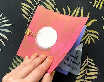 Book of explosions, unique love letter, gift, memento, pastel colors, colorful, metallic bronze book, risograph print, square,