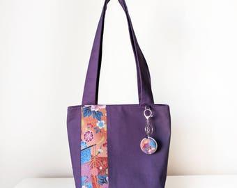 Women's Tote Bag  with Handbag Hook / Shoulder Bag / featuring Zip Closure and Internal Pockets in Purple