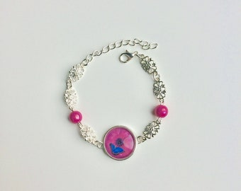 Chain bracelet Silver Flower rose cabochon blue butterfly flower pink beads