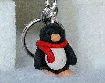 Chilly Penguin Stitch Markers huddle of 4 Miniature Polymer Clay Polar Animal Knit, Crochet Accessories