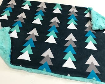 Navy and Mint Triangle Trees Baby Blanket Lovey, Baby Boy Minky Lovey, Navy Woodland Blanket, Ready to Ship, Baby Boy Blanket