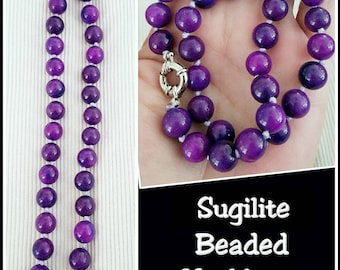 Handmade beaded Sugilite Jade healing, Protective and spiritual properties natural stone, stone necklace. 18 inches long.