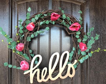 Hello Wreath Pink Tulips Greenery Gold Grapevine