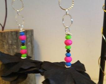 "Neon color black flower earrings""Dawn#"
