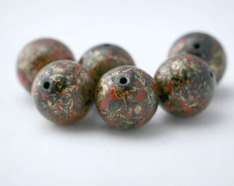 Vintage Red Black Gold Lucite Round Beads 14mm (10)