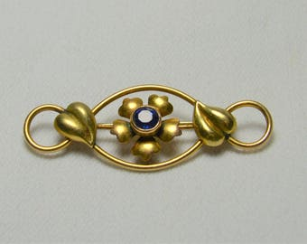 """Antique Blue Brooch,Signed 1/20 12k GF signed with """"Arrow through  C A""""  Gold Filled,Flower,Leaves, Something Blue for the Bride"""