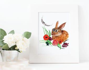 Spring Equinox, bunny, moon, flowers, magical, watercolour art print.