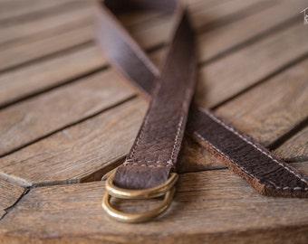 Bison Leather D Ring Cinch Belt | Handmade in the USA | Brown Leather Belt | D Ring Belt