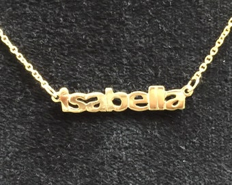 """Costomized Name necklace in14k gold 16"""""""