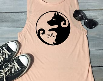 Yin And Yang Dog And Cat Tank Top, Dog Tank Top, Dog Mom Shirt, Dog Lover Shirt, Dog Walker Shirt, Funny Dog Shirt, Cat Mom, Yoga Top