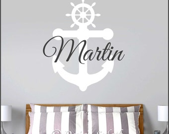 Personalized Name with Anchor/Helm Wall Decal NM-135