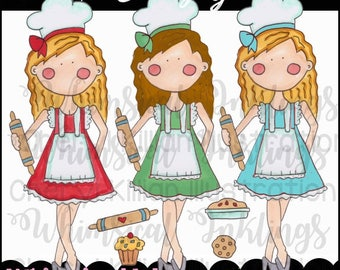 The Bakery Girl Clipart Collection- Immediate Download