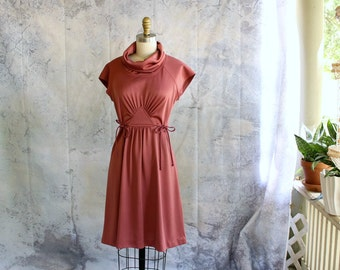 vintage 1970s dress, disco dress with cowl neck and cap sleeves by Trolley Car . womens size small