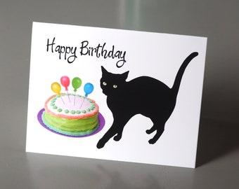 Black Cat Colored Cake Printable Birthday Card, Digital Cat Birthday Card