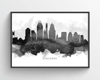 Cincinnati Skyline Poster, Cincinnati Cityscape, Cincinnati Print, Cincinnati Art, Cincinnati Decor, Home Decor, Gift Idea, USOHCI11P