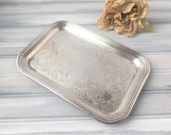 Vintage Rectangle Silver Tray / Silver Tray / Vanity Tray / Silver Vanity Tray / Vintage Silver Tray / Vintage Tray / Rectangle Tray