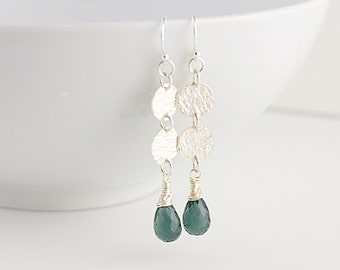 Smoke Gray Quartz and 2 Hammered Sterling Disc Earrings