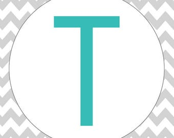 Monogram - Chevron - Gray & Teal - T (Art Print - Multiple Sizes Available)