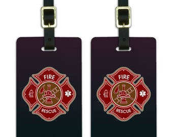 Firefighter fire rescue maltese cross luggage id tags suitcase carry-on cards - set of 2