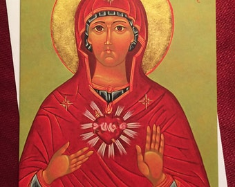 IMMACULATE HEART of MARY, icon, Catholic, gift, Catholic art, religious, Blessed Mother, saints, Our Lady, Byzantine, Madonna