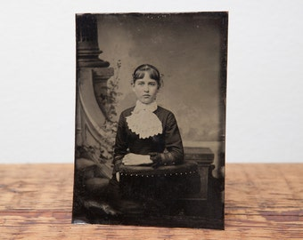 Antique tintype of young girl