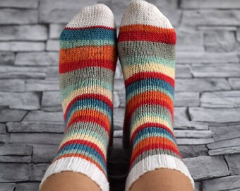 Color stripes wool socks, hand knit socks for women, winter socks, thin home socks, reinforced heel, striped bed socks, mismatched socks