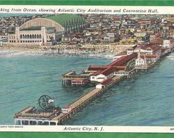 Vintage Linen Postcard -  Atlantic City Auditorium and Convention Hall  Near the Old Steel Pier in  Atlantic City, New Jersey  (2839)