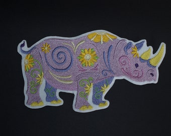 Flower Power Rhino Embroidered Sew on, Iron on, Glue On Patch Motif Accessory