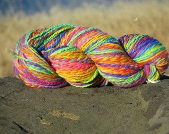 Handspun & Painted Merino Wool Yarn - Brilliant Rainbow Melange, Bulky, 4 oz., 120 g., 205 yards