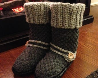 Crochet PATTERN Brighton Booty Slippers Crochet Boot Pattern Includes 5 Sizes Toddler Size 9 - Ladies 11
