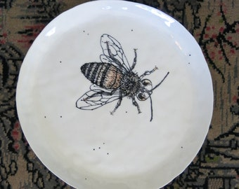 Ceramic Woodland Honey Bee Plate Hand Drawn Fine Art Plate One of a Kind Gift Idea Home Decor, Handmade Artisan Pottery by Licia Lucas Pfadt
