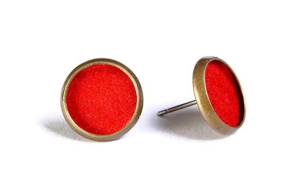 Sale Clearance 20% OFF - Red velvet hypoallergenic stud earrings (489)
