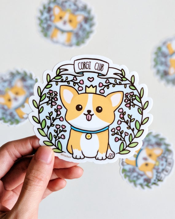 Corgi Club Sticker, Corgi Stickers, Vinyl Stickers, Laptop Stickers, Weatherproof Sticker, Corgi, Cute Sticker, Dog Sticker, Bumper Sticker by Etsy
