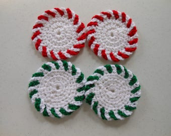Peppermint & Spearmint Crochet Christmas Coasters Set of Four