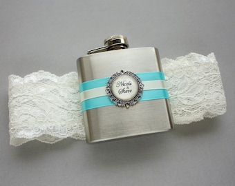 Personalized FLASK GARTER, Something Blue Garter, Lace Wedding Garter, Bridal Garter with Custom Flask -  Ivory & Blue / Turquoise / Aqua