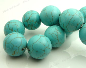 18mm Turquoise Blue Magnesite Round Gemstone Beads - 15.5 Inch Strand - Large Focal Beads - BF33