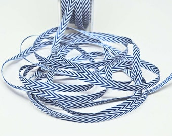 Striped Chevron Twill Ribbon -- 1/4 inch -- Navy White