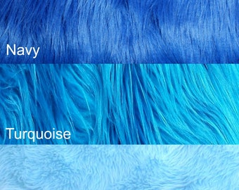Blue Shaggy Fur Faux Fur Solid Shag for Crafts, wedding Sewing Supplies, Baby Photo Props, Toys, Rugs