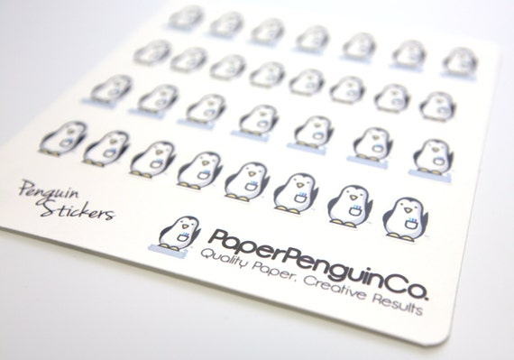 Planner Stickers Penguin Stickers PaperPenguinCo Logo Decorating Matte White 30 Animal Stickers